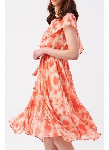 Random Kadın Üzeri Fırfır Detaylı Beli Lastikli Tek Omuzlu Asimetrik Elbise Somon